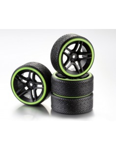 "Set Roti Drift 9-Spoke ""Profile A"" Negru/Verde 1:10 (4 buc)"