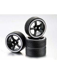 "Set Roti Drift 5-Spoke ""Profile A"" Negru/Orange 1:10 (4 buc)"