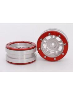Set Jante Metalice METSAFIL cu Beadlock PT- Distractor Argintiu/Rosu 1.9 (2 buc)