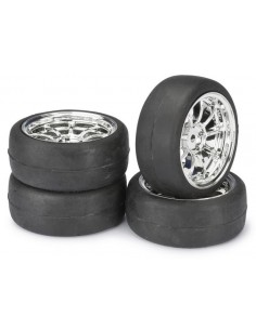 "Set roti Onroad LP "" 9-Spoke / Slick"" Cromate 1:10 (4 buc)"