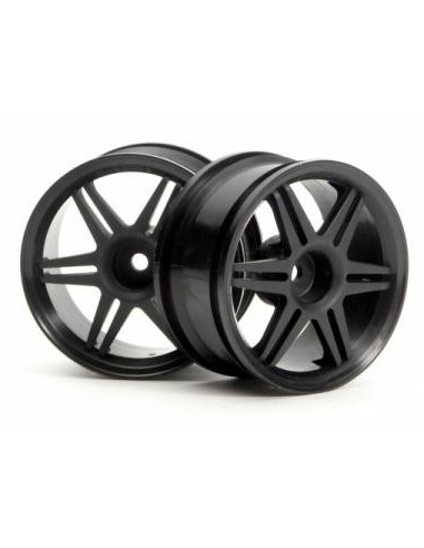 SET JANTE 1:10 12 SPOKE CORSA NEGRE 26mm (3mm OFFSET)